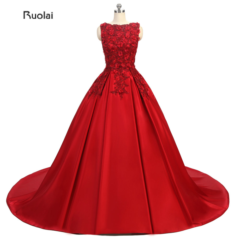 New Arrival 2017 Red Sleeveless Applique Flowers Boat Neck Ball Gown Formal   Evening     Dresses   For Wedding Party Custom Made
