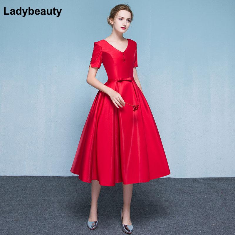 Ladybeauty New Arrival 2018 Elegant Red Evening Dress V-Neck Lacing Formal Party Plus Size Short Sleeve Dresses