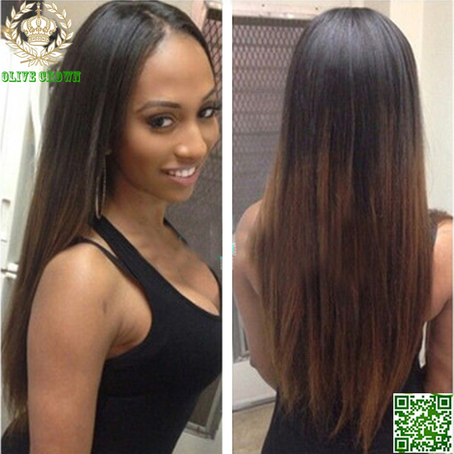 Dark Brown Ombre Full Lace Lace Front Human Hair Wigs