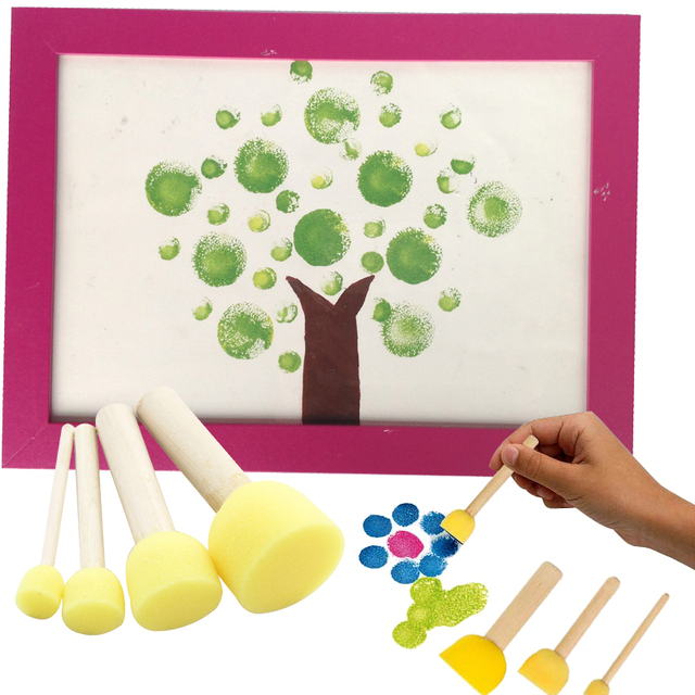 4pcsset baby sponge paint brush original wooden handle diy painting drawing graffiti doodle kids - Drawing And Painting For Kids