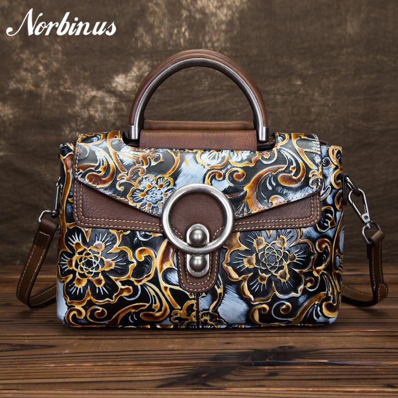 Norbinus натуральной кожи сумка Для женщин тиснением сумка Ретро Crossbody верхнюю ручку сумки натуральная кожа сумки новый