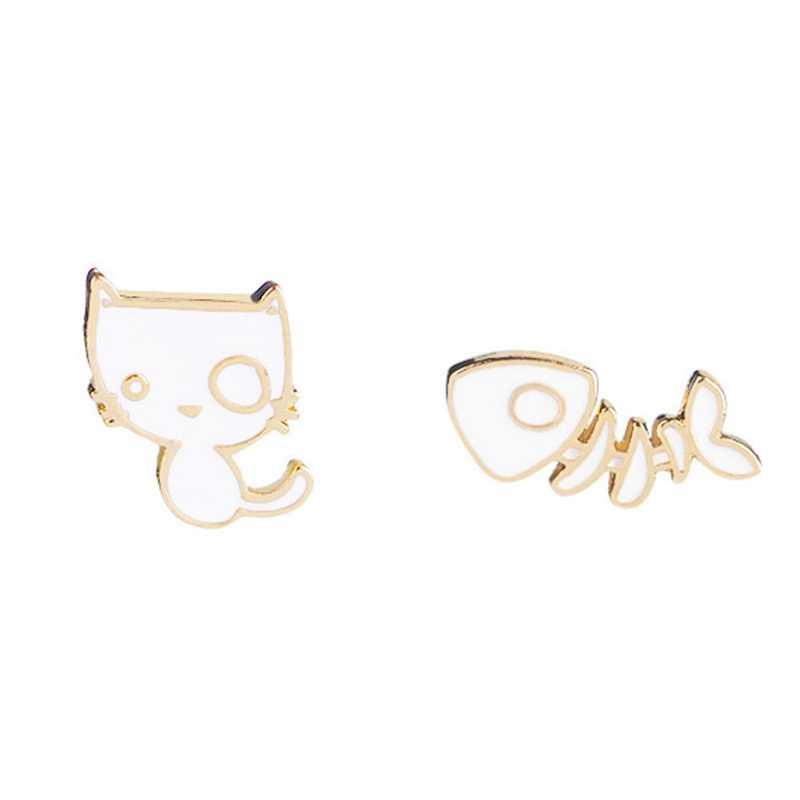 Эмаль Кошка белый брошь на рюкзак рубашка мультфильм милый котенок рыбья кость сплав воротник падения масла брошь Забавный котенок животных