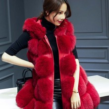Autumn Winter New Skinny Part Hooded Vest 2016 Removable Sleeve Stitching Jacket Stable Free Fake Fox Fur Coat Lpc16 Z25