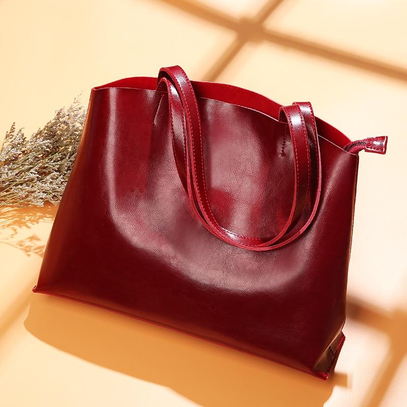 SUNNY SHOP American Stlylish Vintage Big Tote Bag A4 Available Genuine Leather Handbag Purse Brand Designer Simple Shoulder Bag-in Shoulder Bags from Luggage & Bags    1