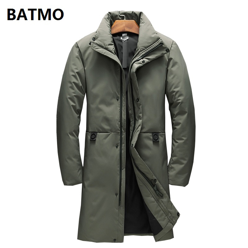 BATMO 2018 new winter high quality 90% white duck   down   long jackets men,men's Long parkas, warm trench   coat   plus-size 9056