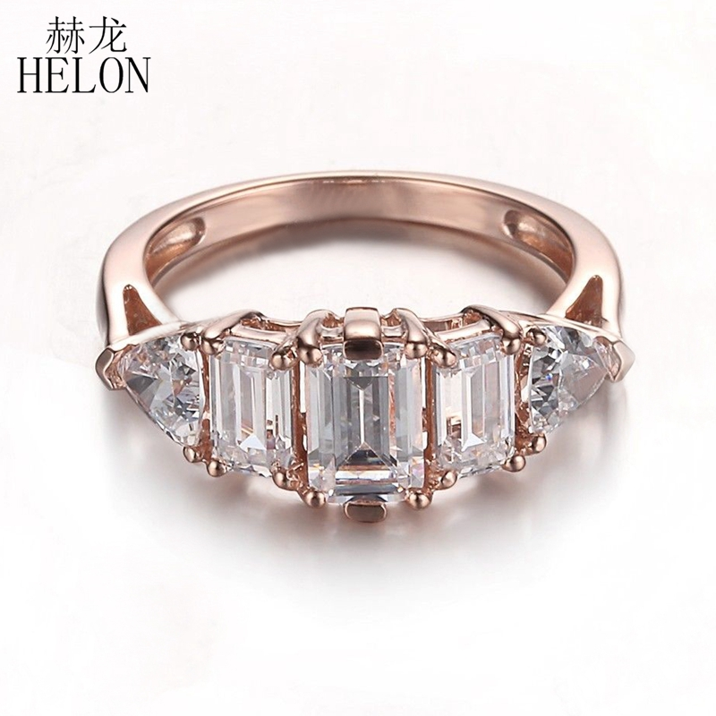 HELON Sterling Silver 925 Flawless AAA Graded Cubic Zirconia Emerald & Trillion Cut Three Stones Fine Wedding Ring Women Jewelry helon sterling silver 925 flawless 11x9mm emerald cut 4 36ct real blue topaz natural diamond engagment wedding ring fine jewelry