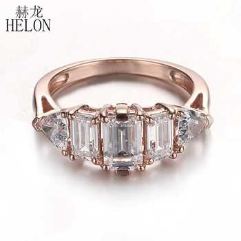 HELON Sterling Silver 925 Flawless AAA Graded Cubic Zirconia Emerald & Trillion Cut Three Stones Fine Wedding Ring Women Jewelry - DISCOUNT ITEM  13% OFF All Category