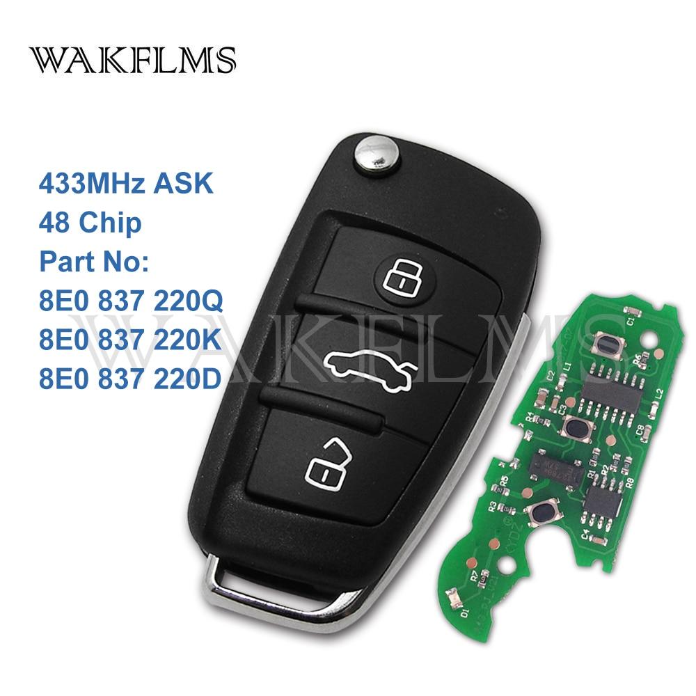3 Button Remote Car Flip Key 433MHz Fob for AUDI A2 A4 S4 Cabrio Quattro Avant