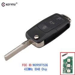 KEYYOU 3 Buttons Remote Key Fob 434MHz With ID48 1K0959753G For VOLKSWAGEN VW PASSAT B5 B6 Skoda Tiguan Touran GOLF JETTA POLO