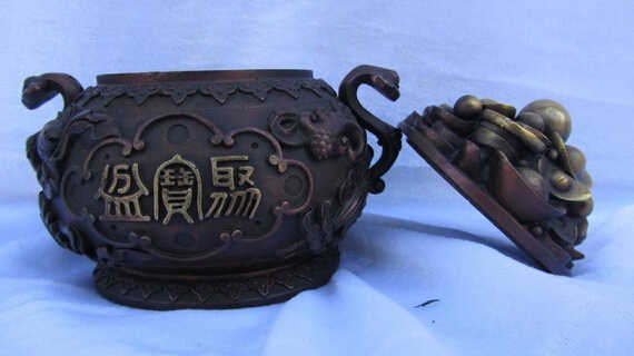 WBY 823+++++Chinese Folk Red Copper Bronze Feng Shui Lucky Wealth YuanBao Coin treasure bowl