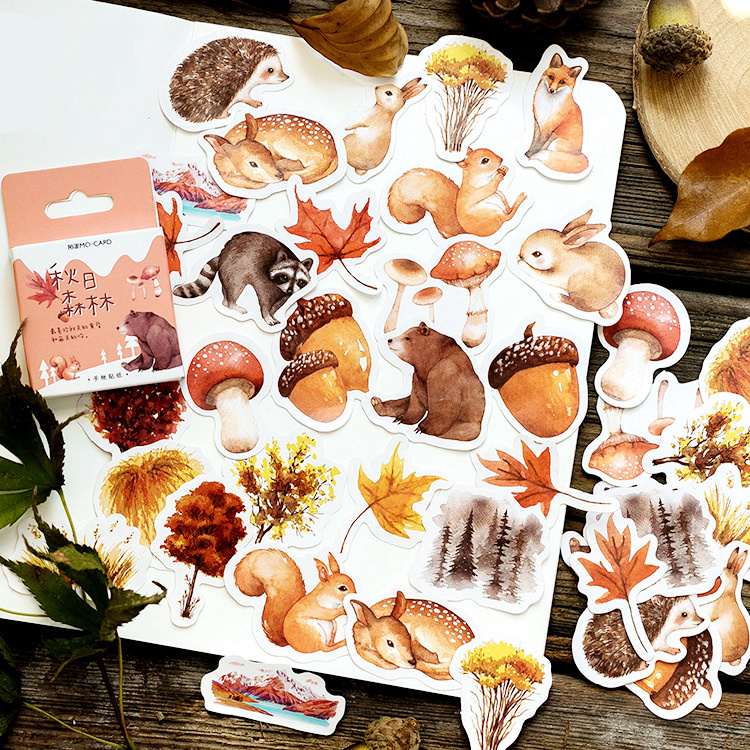 1PACK=45PCS Warm Autumn Cute Animals And Forest Theme Mini Paper Stickers 4.4*4.4cm DIY Sealing Sticker Gift