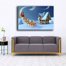 Canvas Painting Home Decor Living Room 1 Piece Christmas Reindeer Santa Claus Pictures Wall Art Print Unique Gift Poster Frame