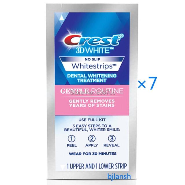 עדכון מעודכן 7 שקיות רצועות שיני Whitestrips קרסט 3D הלבנת שגרתית עדינה לשיניים HV-23