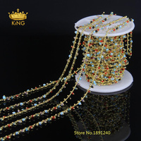 Rosary Chain New Golden Plated Brass Cube Wire Wrapped Tiny 2mm Natural Rainbow Glass Beads Link Jewelry Findings 5M LS37