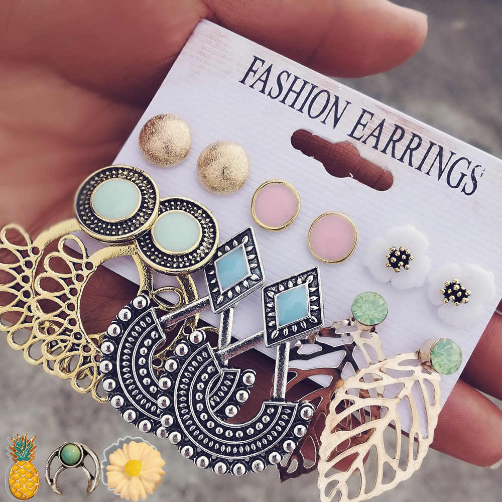 IF ME Vintage Stud Earrings Set Mixed for Women Bohemian Gold Color Leaf Flower Stone Statement Hang Brincos Jewelry 2019 NEW