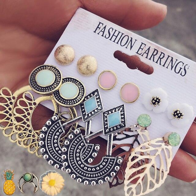 NẾU TÔI Cổ Điển Stud Earrings Set Hỗn Hợp đối với Phụ Nữ Bohemian Màu Vàng Lá Hoa Đá Tuyên Bố Treo Brincos Đồ Trang Sức 2019 MỚI