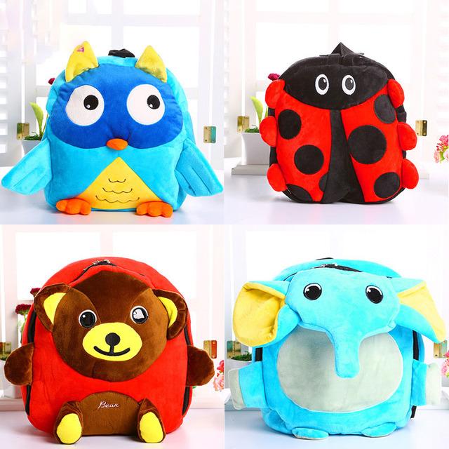Nuevos niños de la llegada bolsas de felpa de dibujos animados 3D Lindo animal de Peluche Mochila Bandolera escuela de kindergarten bebé bolsa de Merienda