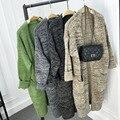 2016 Moda tricô Cardigan mulheres Camisola Longa blusas de malha Cardigans de malha das senhoras do vintage do sexo feminino Casual outwear casaco 6223
