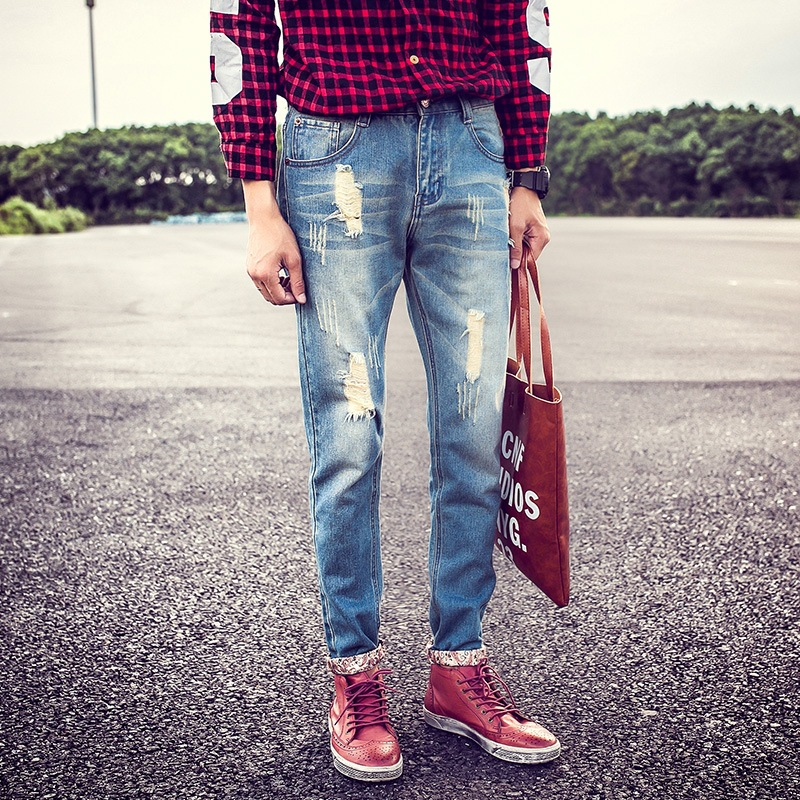 Fashion 2017 Spring Summer retro ripped hole straight jeans Casual men's hip hop Distressed Moustache Effect Cowboy pants Mens