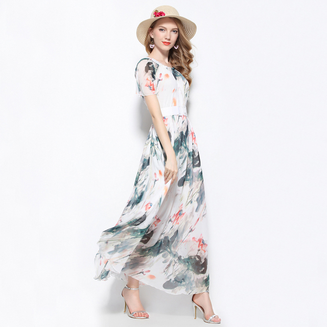 Summer White Floral Long Holiday Chiffon Maxi Dress Gown Plus Sizes ...