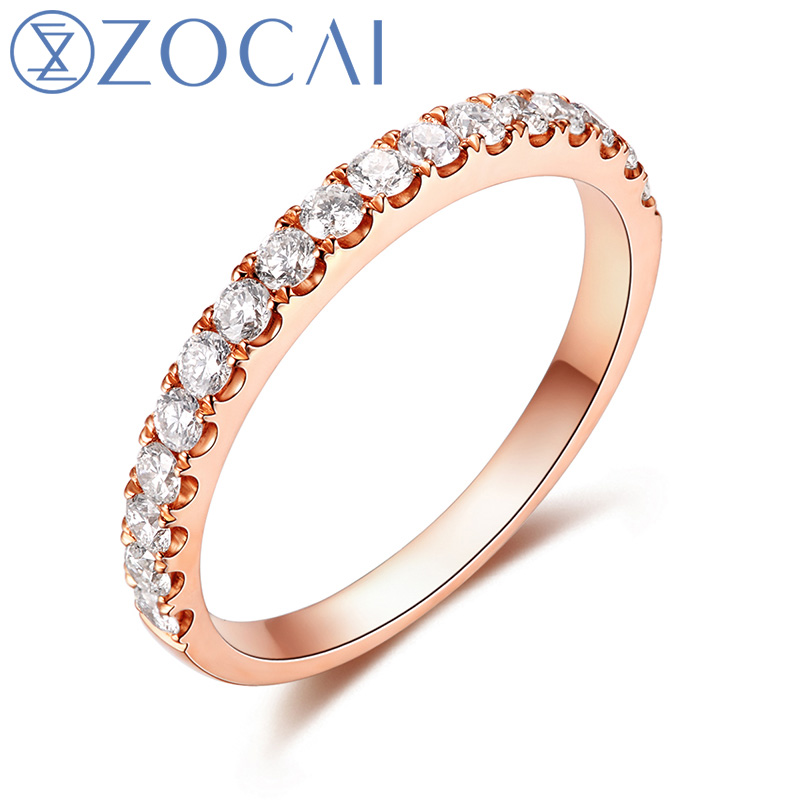 ZOCAI Design 0.45CT Ring Real Diamond Wedding Women Ring in 18K Rose Gold (Au750) W06303 pure au750 rose gold love ring lucky cute letter ring 1 13 1 23g