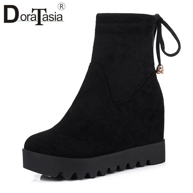 DORATASIA duży rozmiar 31-43 wygodne platformy botki kobiety jesień 2019 eleganckie stado obcasy buty kobieta wysokość zwiększenie