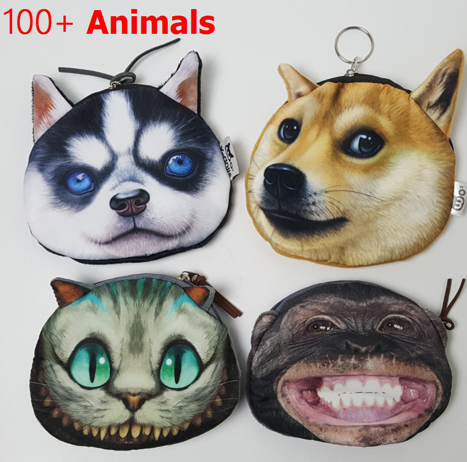 Coin Purse 2016 Full Catalog animal 3D printed pattern New unusual dog purse factory wholesale Pug fabric pouch children's purse 3d florals pattern u pouch design voile briefs