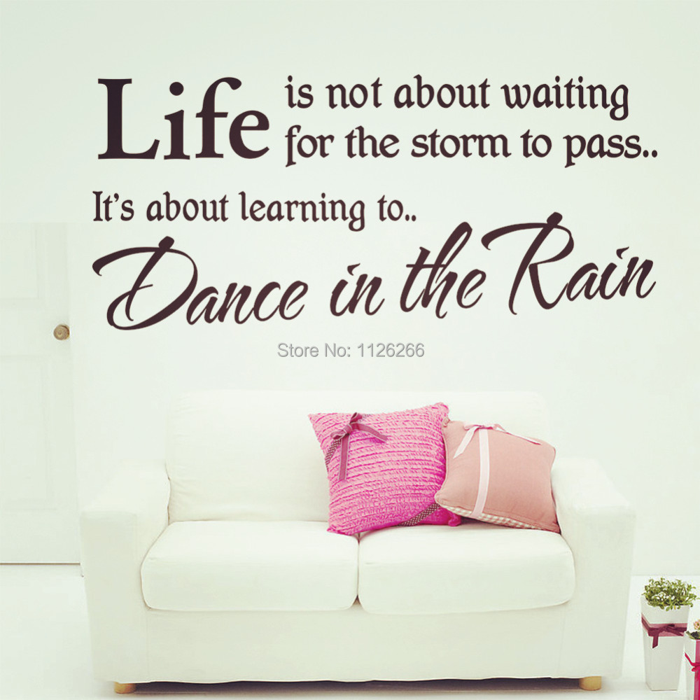dance in the rain removable vinyl lettering brand wall stickers decal for home decorchina