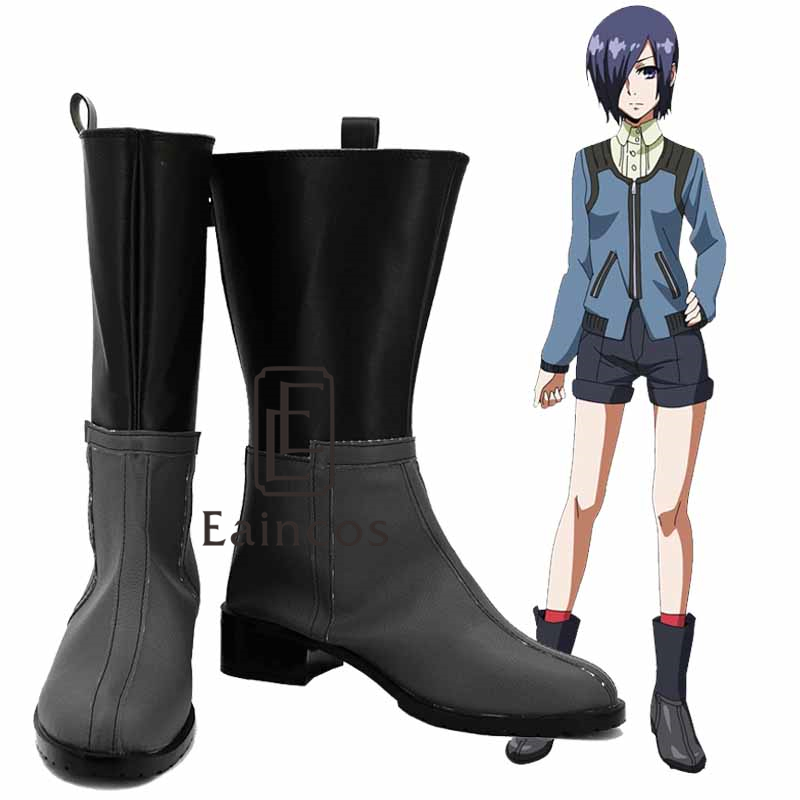 Anime Tokyo Ghoul Touka Kirishima Cosplay Party Shoes Grey and Black Boots Custom Made