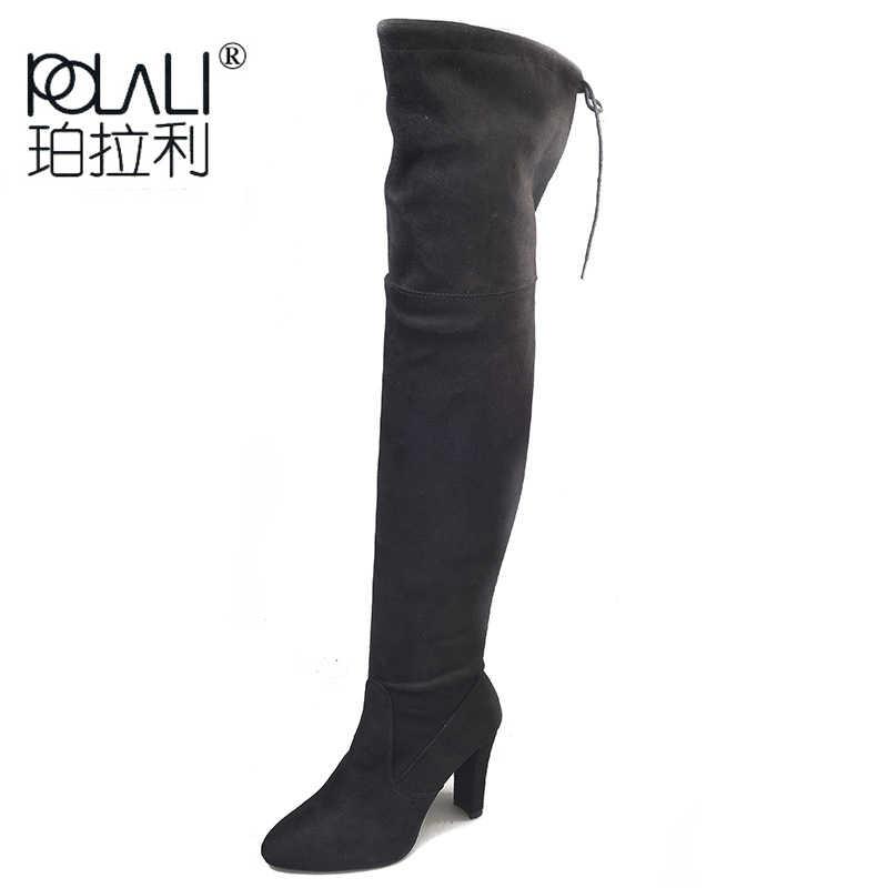 POLALI Boy 34-43 2018 Yeni Ayakkabı Kadın Çizmeler Siyah Diz Çizmeler üzerinde Seksi Kadın Sonbahar Kış bayan uyluk Yüksek Çizmeler