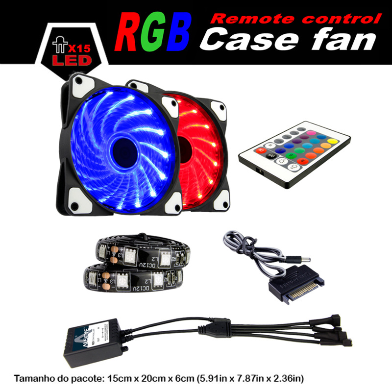 ALSEYE Remote control 120mm LED RGB fan with RGB strips sets (10 sets) wholesale for agents (More quantity, more cheaper) 10 50 meters pack 1m per piece led aluminum profile slim 1m with milky diffuse or clear cover for led strips