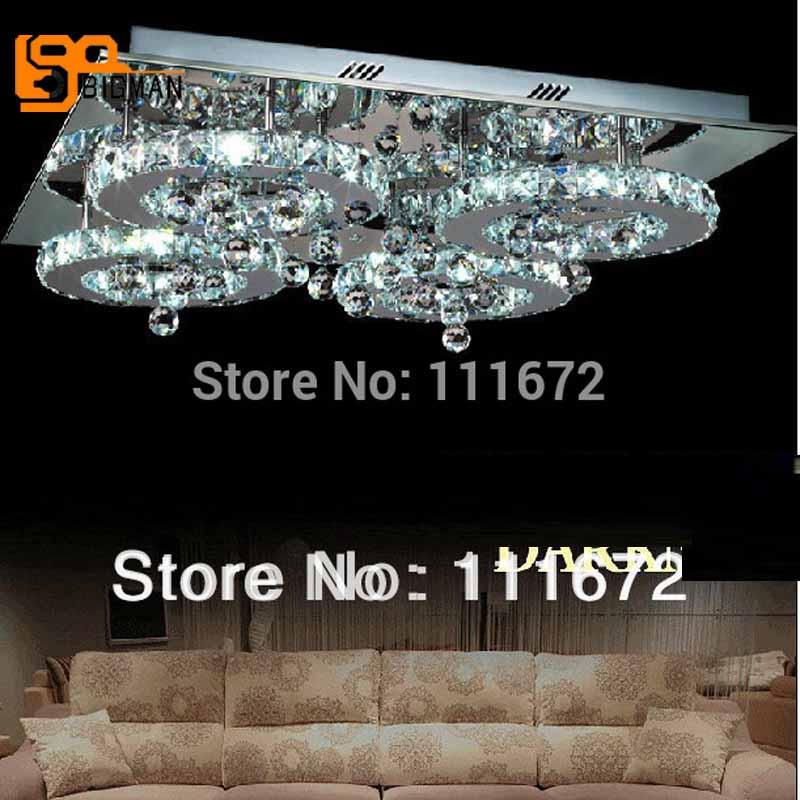 new modern square flush mount led ceiling light lustre crystal lamp room light