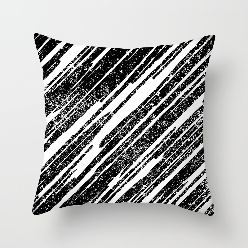Black and White style pillowcase Geometrical line pillow case home decorative pillow cover 45 45 cm popular pillowcase in Pillow Case from Home Garden