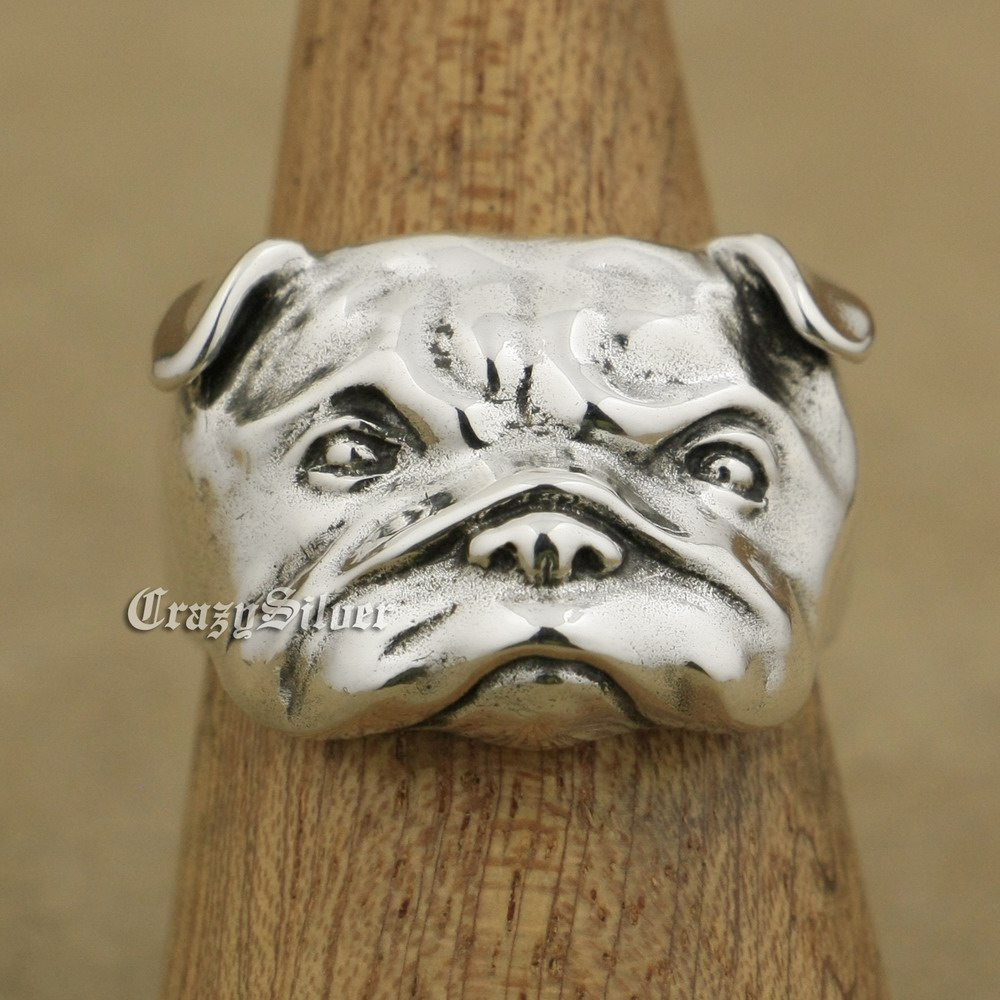 LINSION 925 Sterling Silver Cute Shar Pei Charms Dog Ring TA33 US Size 7~15 925 pure silver ring shar pei dog ring bulldog thai silver ring vintage finger ring