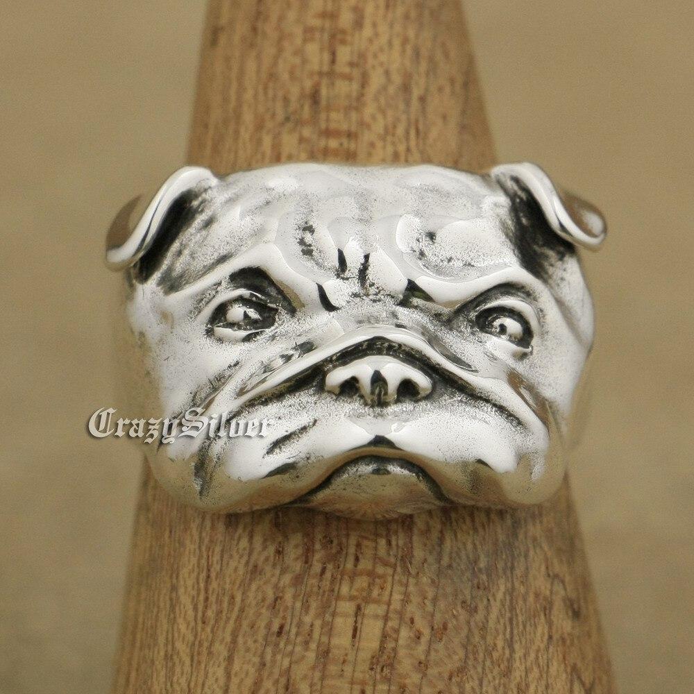 LINSION 925 argent Sterling mignon Shar Pei charmes chien anneau TA33 taille américaine 7 ~ 15