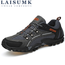 LAISUMK Men Hiking Shoes Breathable Leather Climbing Fishing Outdoor Autumn Mens Lace Up Comfortable Flats Males