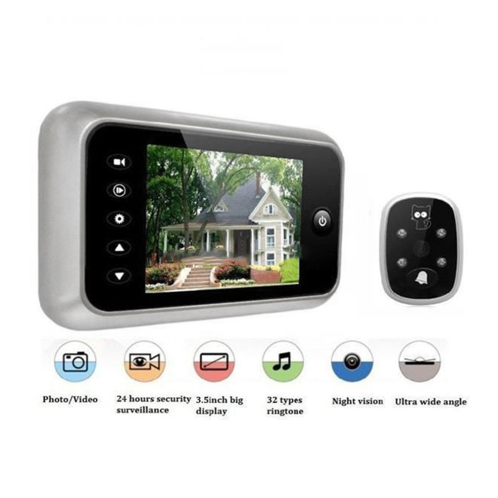 3.5 LCD Tela Colorida T115 Doorbell Visualizador Digital Porta Peephole Visualizador de Olho Porta Câmera gravação de Vídeo 120 Graus Noite visão