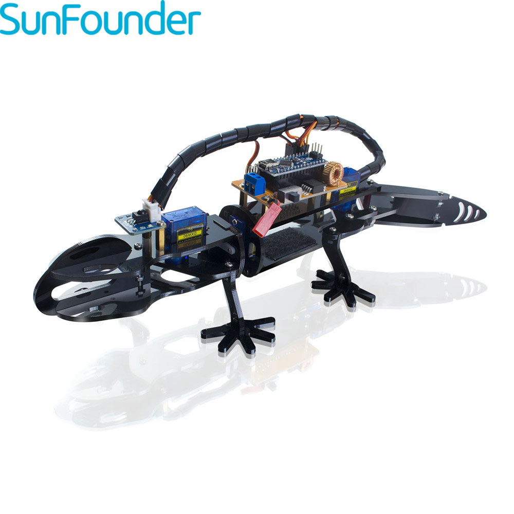 SunFounder Bionic Robot Lizard Visual Programming Educational Robot Kit for Kids Remote Control DIY Toy ...