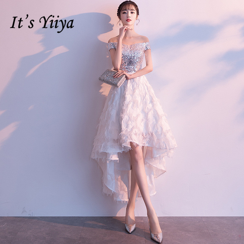 It's YiiYa Prom Dress Shning Sequins Boat Neck Short Party Dresses Little Tassel Design High Low Length Formal Gowns E025