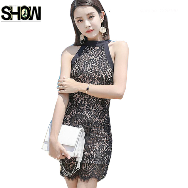 5be49a7201c3 Slim Pencil Dresses New Hot Sales Women Fashion Korea Style Sleeveless  Bodycon Bandage Pink Black Lace Work Party Hollow Dress