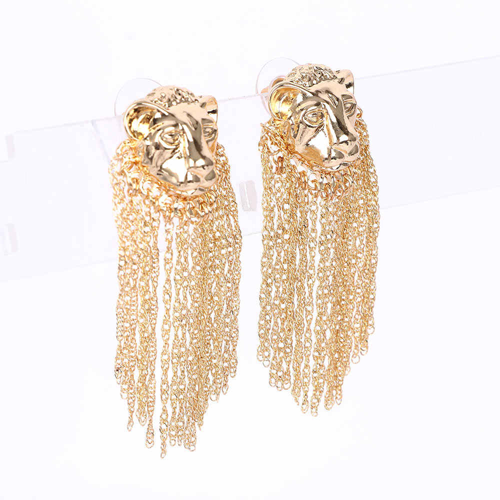 1Pair Tassel Earrings Exaggerated Lion Head Metal Chain Animal Alloy Gold Silver Hip Hop Punk Drop Earrings Personality Jewelry