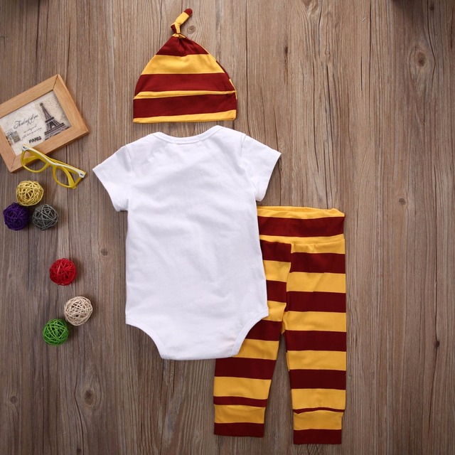3PCS Baby Clothing Set Newborn Baby Boys Girls Letter Muggler Tops Bodysuit+Stripe Pants+Hat Outfits Clothes 0-24M Super Cute 2