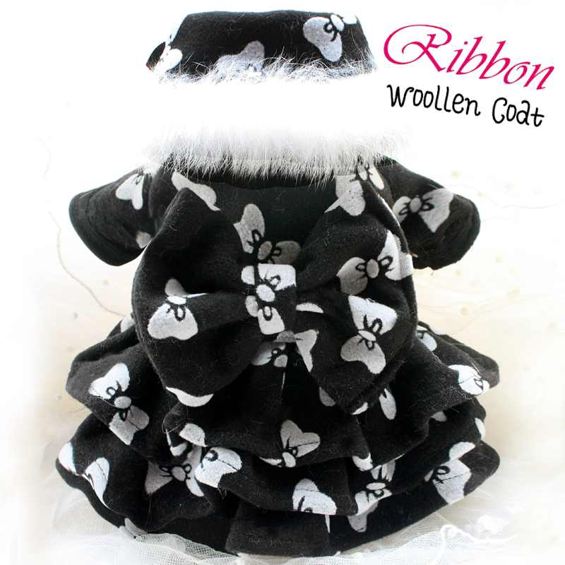 Free shipping high quality handmade fur collar detachable big bow black dog coat dress & black vest pet apparel for winter
