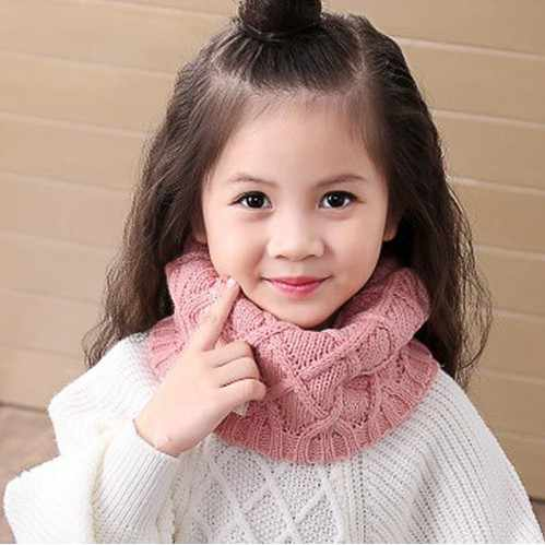Cute Cotton Winter Baby Neck Ring Scarf LICs Children Girls Boys Knitted Wool O-Scarves Kids Solid Color Warm Snood