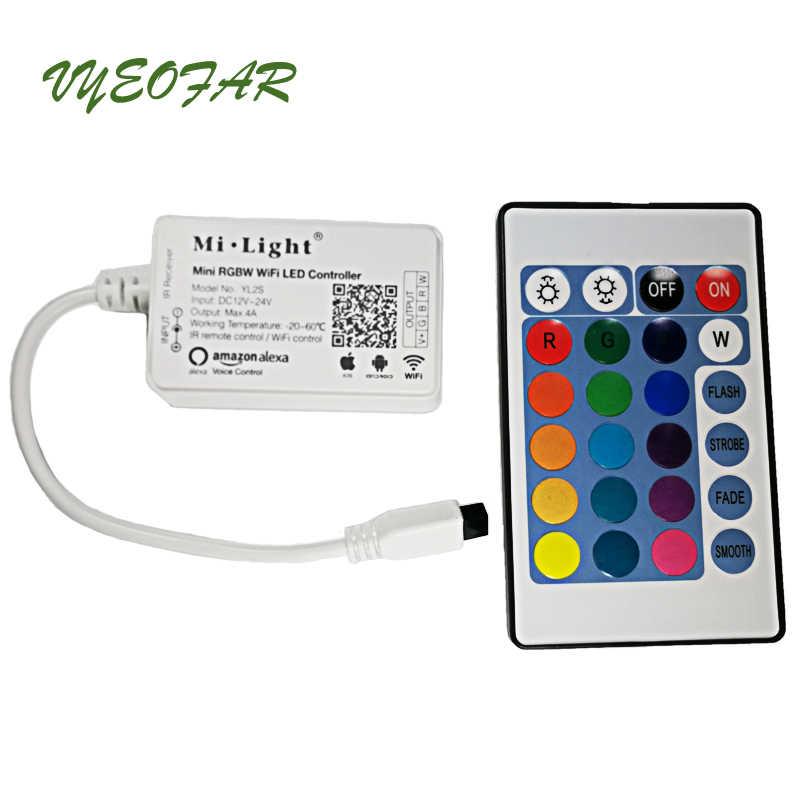 Milight YL2S Mini RGB RGBW WiFi LED de contrôle travail avec la voix d'amazon Alexa pour la lumière de bande de LED DC12-24V 4A sortie IR à distance
