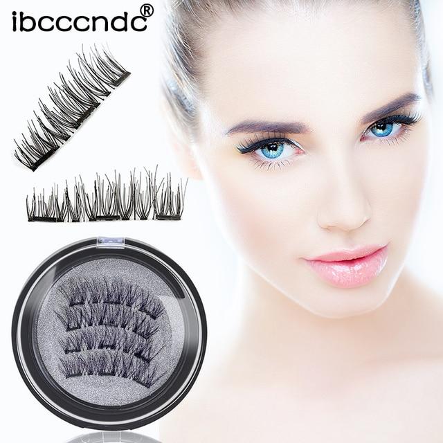 3 Aimant 3D Magnétique Cils Aimant Lashes Épais Réutilisables Faux Cils Main Non Colle Eye Lashes Maquillage Kit 4 pcs/paire