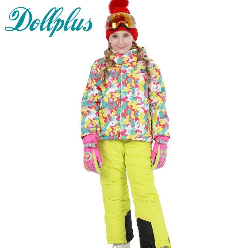 Russian Winter Children Ski Suit Girls Outdoor Windproof Waterproof Ski Jacket+Bib Pants 2 pcs Girls Ski Set russian winter children ski suit windproof outdoor girls ski jackets bib pants 2pcs girls clothing set for 2 7 years
