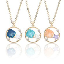 Fashion Simple DIY Pendant Jewelry Enamel Alloy Hollow Pearl Necklace Cute Girl Shell Pendant Chain Necklace Student Jewelry floral enamel hollow out pendant necklace