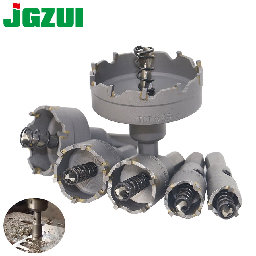 1 Pc Carbide Tip TCT Drill Bit Hole Saw 15-100mm Drill Bit Set Hole Saw Cutter For Stainless Steel Metal Alloy Drilling