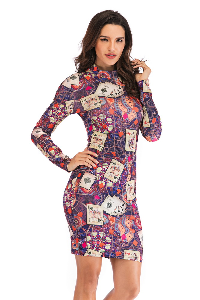 OKAYOASIS Free Shipping Sexy Women O-neck Long Sleeve Floral Pint Bodycon Poker Party Dress Elegant Club Dress Vestidos